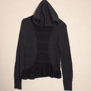Anthropologie Eloise navy blue ruffle lace hoodie